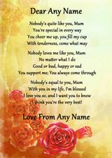 Yellow Nobody Like You Mum Personalised Poem Certificate