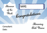 Blue Horizon Slimmer Of The Month Personalised Diet Certificate
