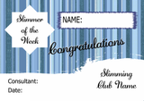 Blue Stripe Slimmer Of The Month Personalised Diet Certificate