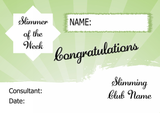 Green Horizon Slimmer Of The Month Personalised Diet Certificate