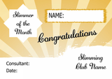 Green Stripe Slimmer Of The Week Personalised Diet Certificate