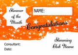 Orange Horizon Slimmer Of The Week Personalised Diet Certificate