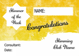Yellow Stars Slimmer Of The Month Personalised Diet Certificate
