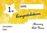 Yellow Stripe Personalised Slimming Club Diet Weight Loss Certificate