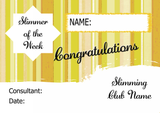 Yellow Stripe Slimmer Of The Month Personalised Diet Certificate