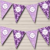 Cadbury Purple Vintage Damask And Floral Wedding Bunting