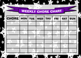 Weekly Chore Rota Task Reward Chart Black White Stars