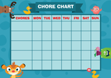 Weekly Chore Rota Task Reward Chart Blue Animals