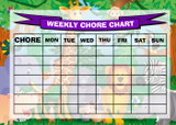 Weekly Chore Rota Task Reward Chart Jungle Animals