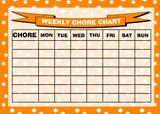 Weekly Chore Rota Task Reward Chart Orange Stars