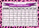 Weekly Chore Rota Task Reward Chart Pink Leopard Print