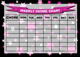 Weekly Chore Rota Task Reward Chart Pink Stars