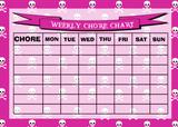 Weekly Chore Rota Task Reward Chart Pirate Pink