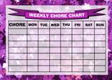 Weekly Chore Rota Task Reward Chart Stars Purple