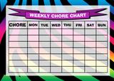 Weekly Chore Rota Task Reward Chart Zebra Colour