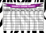 Weekly Chore Rota Task Reward Chart Zebra Print