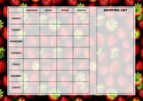 Weekly Meal Menu Diet Planner Chart Strawberries