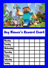 Blue Minecraft Star Sticker Reward Chart