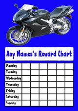 Blue Motorbike Star Sticker Reward Chart