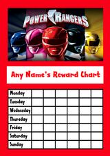 Power Rangers Star Sticker Reward Chart