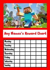 Red Minecraft Star Sticker Reward Chart