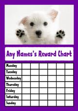White Puppy Dog Purple Star Sticker Reward Chart