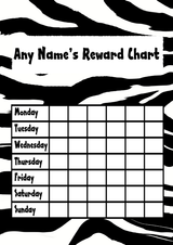 Zebra Print Star Sticker Reward Chart