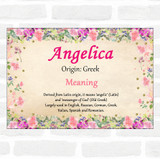 Angelica Name Meaning Floral Certificate