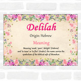 Delilah Name Meaning Floral Certificate