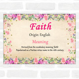 Faith Name Meaning Floral Certificate