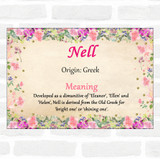 Nell Name Meaning Floral Certificate