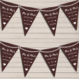 Heart Mr & Mrs Chocolate Brown Wedding Day Married Bunting Party Banner