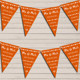 Mr & Mrs Hearts Orange Wedding Day Married Bunting Garland Party Banner