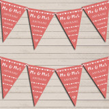 Mr & Mrs Hearts Coral Wedding Day Married Bunting Garland Party Banner