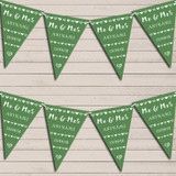 Mr & Mrs Hearts Green Wedding Day Married Bunting Garland Party Banner