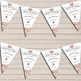 Hearts Decoration Just Married Mocha Taupe Wedding Day Bunting Banner