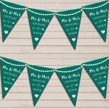 Heart Mr & Mrs Emerald Green Wedding Day Married Bunting Party Banner