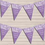 Burlap & Lace Purple Wedding Day Married Bunting Garland Party Banner