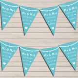 Heart Mr & Mrs Coastal Blue Wedding Day Married Bunting Party Banner