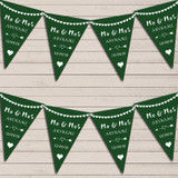 Heart Mr & Mrs Forest Green Wedding Day Married Bunting Party Banner