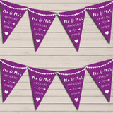 Heart Mr & Mrs Grape Purple Wedding Day Married Bunting Party Banner