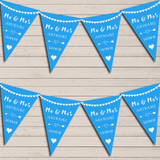 Heart Mr & Mrs Peacock Blue Wedding Day Married Bunting Party Banner