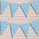 Heart Mr & Mrs Baby Blue Wedding Day Married Bunting Party Banner