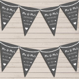 Heart Mr & Mrs Dark Grey Wedding Day Married Bunting Party Banner