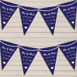 Heart Mr & Mrs Navy Blue Wedding Day Married Bunting Party Banner