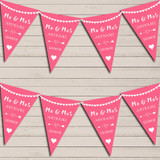 Heart Mr & Mrs Rose Pink Wedding Day Married Bunting Party Banner