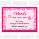 Yolanda Name Meaning Pink Certificate