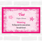Yue. Name Meaning Pink Certificate