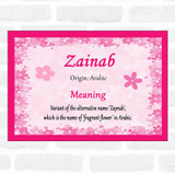Zainab Name Meaning Pink Certificate