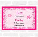 Zan Name Meaning Pink Certificate